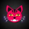 entwashian: face mask of a pink cat (retched kat)