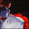 recessional: painting: a young woman in white dances (writing: moving stillness)