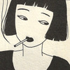 oxfordroulette: Minamalist woman with a black bob smoking (Default)