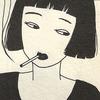 oxfordroulette: Minamalist woman with a black bob smoking (smokin chick)