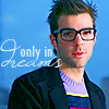 "blackpearl_phan: Zachary Quinto in glasses w/ blue background with the words ""only in dreams"" (dreams)"