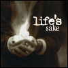 """stilliamthere: Hands cupped around a flame, text """"Life's sake"""" (In Life's name.)"""