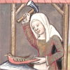 monksandbones: A manuscript illustration of nature as a woman in an apron, wielding a hammer in one hand and holding a bird in the other (nature makes bird i write dissertation)