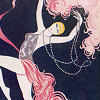 ellia: vintage poster of a showgirl, arching back with one leg raised (infinity)
