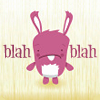 ellia: cartoon bunny, with blah blah  text (blahbunny)