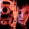 risingshepard: Show me yours; I bet mine's bigger. // Shep with her gun out. (Big mistake.)