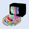 tehkittykat: a test pattern melting out of a tv into the world (threadless; color tv)