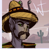 andalitebandito: illustration of an andalite, wearing a poncho, sombrero, and moustache, in a blue-tinged desert environment (Default)