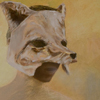 heuradys: painting of person of unidentifiable gender with a fox mask on (fox millen)