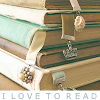 "scintilla10: stack of well-read books; text: ""I love to read"" (Stock readerly - ilovetoread booksbooksb)"