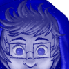 lightrises: A blue, monochromatic drawing of John Egbert in his god tier outfit. Only his head from above the nose can be seen. (Default)