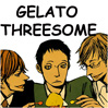 zlabya: Three cartoon guys eating gelato (Gelato Threesome)
