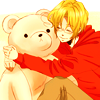 ephemeraldelusion: Canada from Hetalia, right, hugging a large Kumajirou, left. (Default)