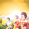 bossymarmalade: three beatles in a strawberry field (ringo is on his way)