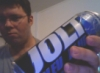 shadowspar: Picture of Rick holding a can of blue Jolt soda (jolt!)