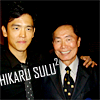 watersword: John Cho and George Takei, with the text Hikaru Sulu[squared] (Star Trek: Sulu-cubed)