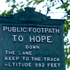hope: walking path sign - public footpath to hope (uk)