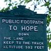 hope: walking path sign - public footpath to hope (uk)