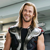 sohotrightnow: Thor with a big smile on his face. ([avengers] god of thunder and :D)