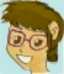 ext_360386: A cartoon woman with short brown hair and glasses. (Default)