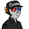 "foghawk: Sollux Captor, very serious, in a cap labeled ""Compton"". (sollux, droll, compton)"