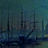 foghawk: A dark, blue-green detail of a painting, showing ships in Hull harbour. (shipping)