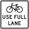 """shadowspar: Road sign: """"Bicycles use full lane"""" (bikes use full lane)"""