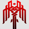 nightmachinery: Crest of the city of Kirkwall: a dark red angular knot pattern resembling a sword with a downward-winged hilt. (Champion - Kirkwall)