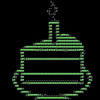 solcita: an ASCII picture of a cake with a candle (Cake is a lie (silly))