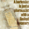 """e_juliana: Icon of Laudanum bottle with the text """"A bartender is just a pharmacist with a limited inventory"""" (bartender)"""