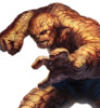 halialkers: Orange man made of rocks, left hand in fist, right hand extending out with fingers splayed (Ben Grimm)