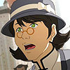ambyr: a green-eyed woman wearing glasses (Korra reporter)