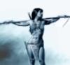 jawburn_steel: warrior woman with spear, b&w (warrior woman)