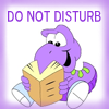 ellia: cartoon worm holding a book and the text do not disturb (text do not disturb bookworm)