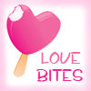ellia: pink loveheart lollipop with a bite taken out and the words love bites (love bites)