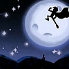yati: Danny Phantom (with a cape!) in front of a full moon in a superhero pose. (superpowered!)