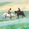 queenlua: Art from an MtG card: two men sitting on horses in a green field. (Tithe)