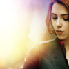 st_aurafina: Natasha Romanova, looking down, against a rainbow background (Marvel: Natasha)