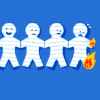 rising: paper chain of figures and one is burning at screen right (the cadre: paperchain)