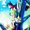 oneill: Phantom Brave - Putty, Marona, and Ash sit high up in a tree to greet the dawn (good morning)