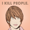 getinnocuous: A picture of Light Yagami from the anime Death Note. (I kill people)
