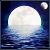 rosabelle: full moon over water with a smaller moon beside it (misc - fantasy moons)