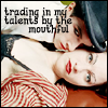 "hazardous_sims: Dresden Dolls icon with the quote ""trading in my talents by the mouthful"". (Default)"