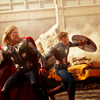 sunspot: thor and captain america in battle (steve 'n' thor)