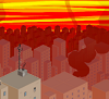 rev_marsh: a view of a sunset in a sort of dytopian city, high up in the skyscrapers, sort of isometric view (dave's house)