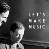 "naraht: Britten and Pears at the piano. Text: ""Let's make music."" (other-BrittenPears)"