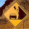 sunfell: This is a real sign- falling rocks, and a cow. (Cowslide)