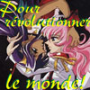 """sineala: Utena and Anthy from Revolutionary Girl Utena; the text reads """"pour révolutionner le monde"""" (utena)"""