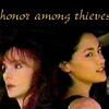 "sineala: Li Ann and the Director (Once a Thief); text reads ""honor among thieves"" (director/li ann)"