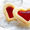 bossymarmalade: jam cookies shaped like hearts (love in cookie form)
